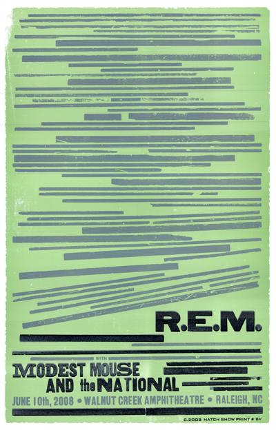 R.E.M., 3-color letterpress show poster, 2008