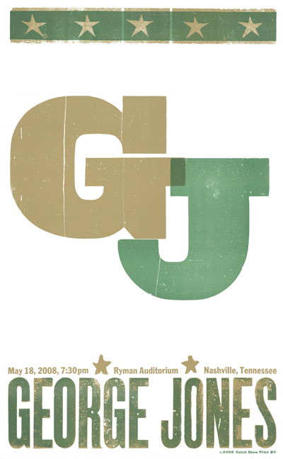 George Jones, 2-color letterpress show poster, 2008