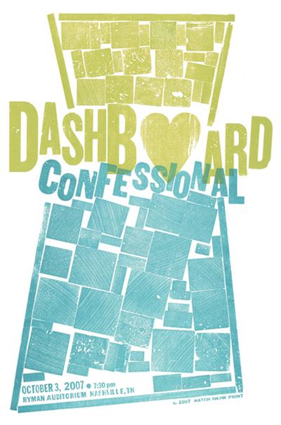 Dashboard Confessional, 2-color letterpress show poster