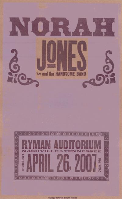 Norah Jones, 2-color letterpress show poster, 2007