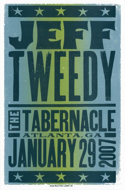 Jeff Tweedy, 2-color letterpress show poster, 2007