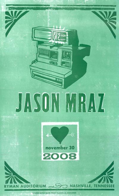 Jason Mraz, 2-color letterpress show poster, 2008
