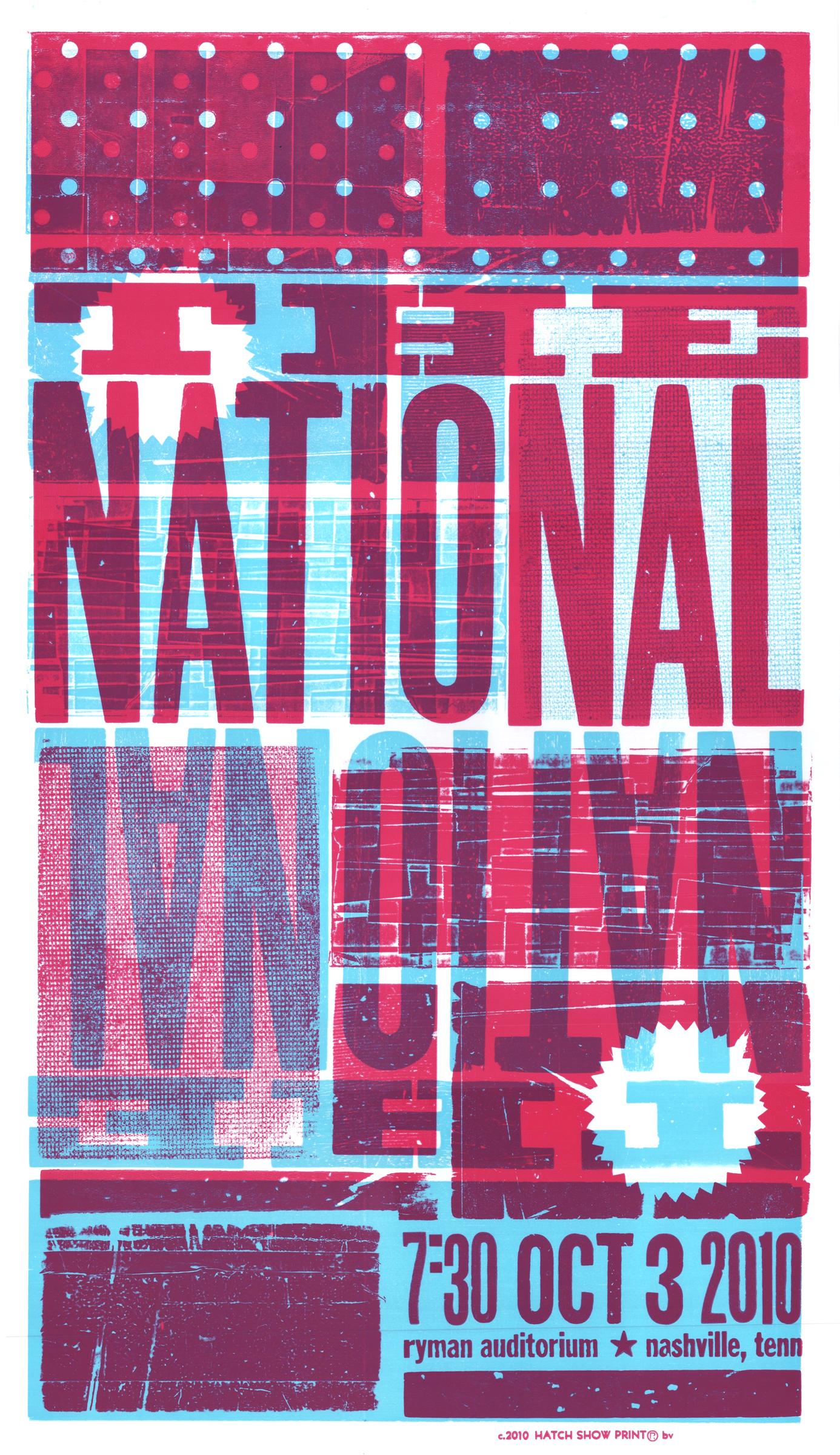 The National, 2-color letterpress show poster, 2010