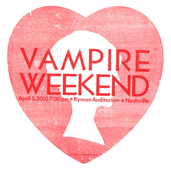 Vampire Weekend, 2-color letterpress show poster, 2010