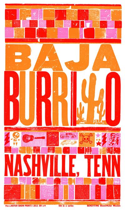 Baja Burrito, 3-color letterpress promotional poster, 2011