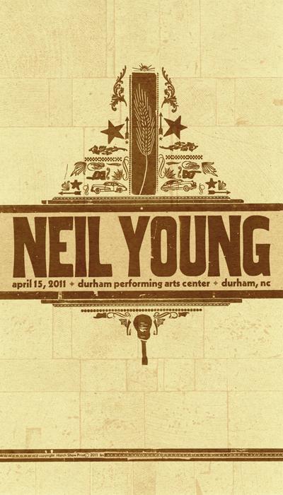 Neil Young, 2-color letterpress show poster, 2011