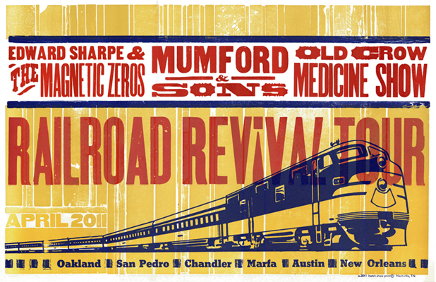 Railroad Revival Tour, 3-color letterpress tour poster, 2011, collaboration with Bethany Taylor