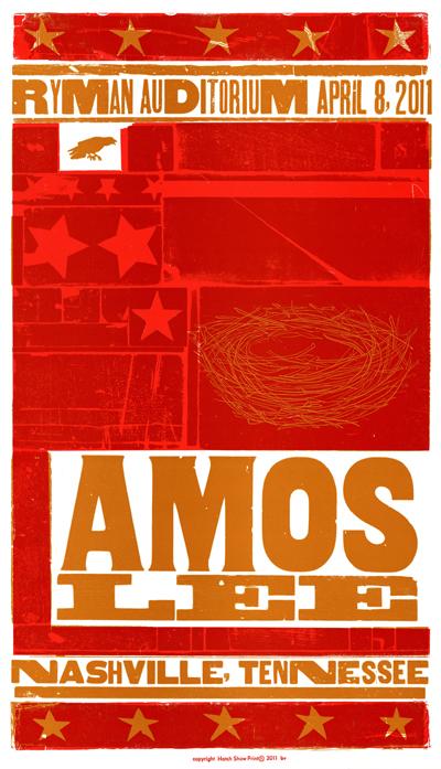 Amos Lee, 2-color letterpress show poster, 2011