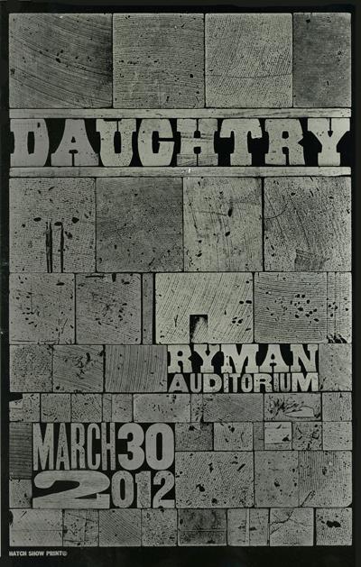Daughtry, 1-color letterpress show poster, 2012