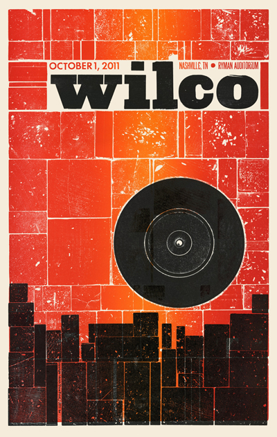 Wilco, 1 of 2 letterpress show poster for back-to-back concerts, 2012