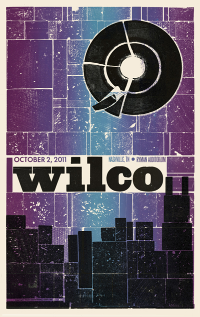 Wilco, 2 of 2 letterpress show posters for back-to-back concerts