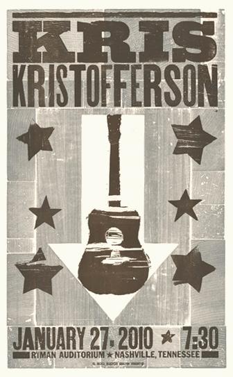 Kris Kristofferson, 2-color letterpress show poster, 2010