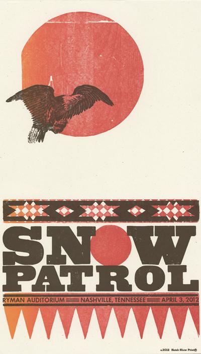 Snow Patrol, 2-color letterpress show poster, 2012