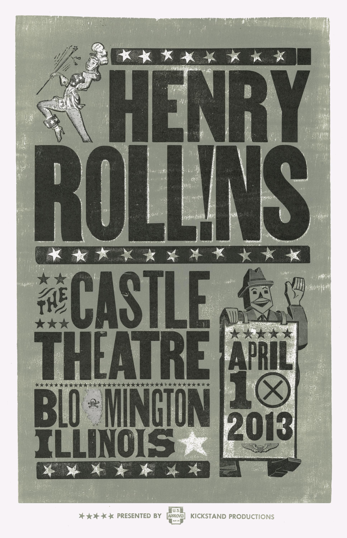 Henry Rollins, 2-color letterpress show poster, 2013