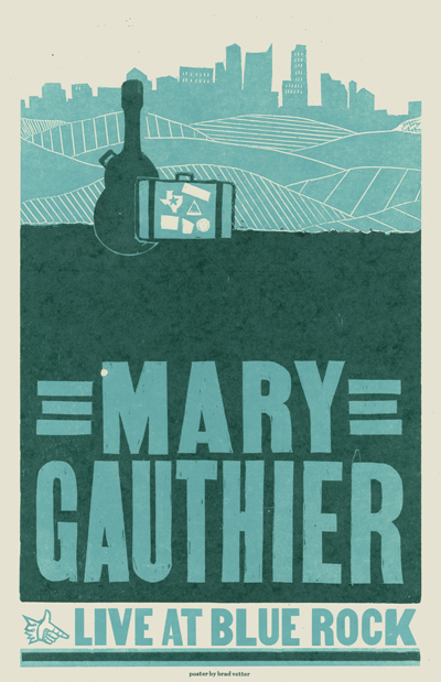 Mary Gauthier, 2-color letterpress tour poster