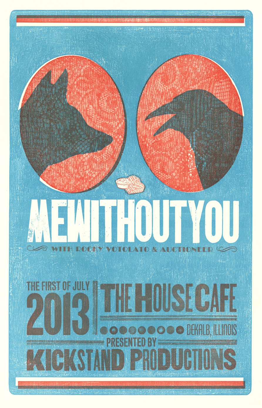 MEWITHOUTYOU, 2-color letterpress show poster, 2013