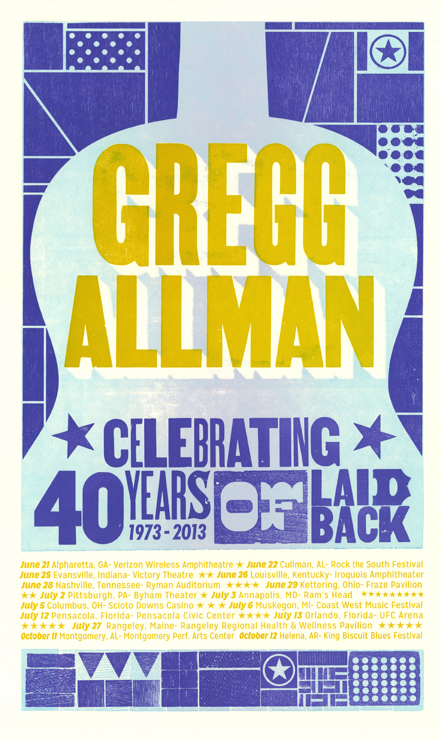 Gregg Allman, 3-color letterpress tour poster, 2013