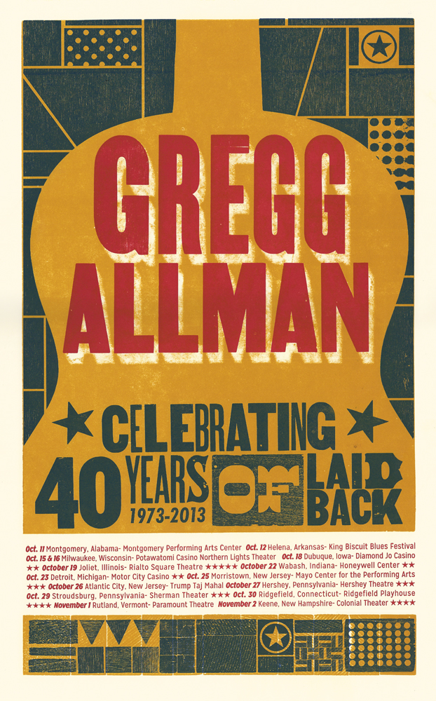 Gregg Allman, 3-color letterpress show poster, 2013,  available here!