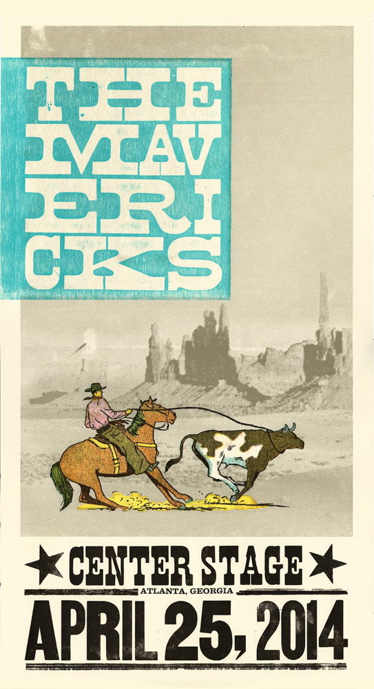 The Mavericks, 6-color letterpress show poster, 2014