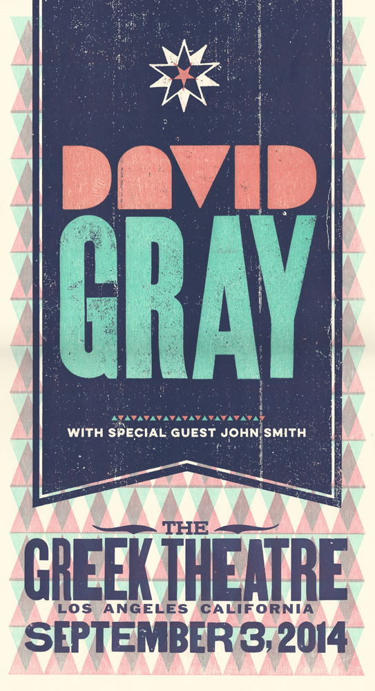 David Gray, 5-color letterpress show poster, 2014
