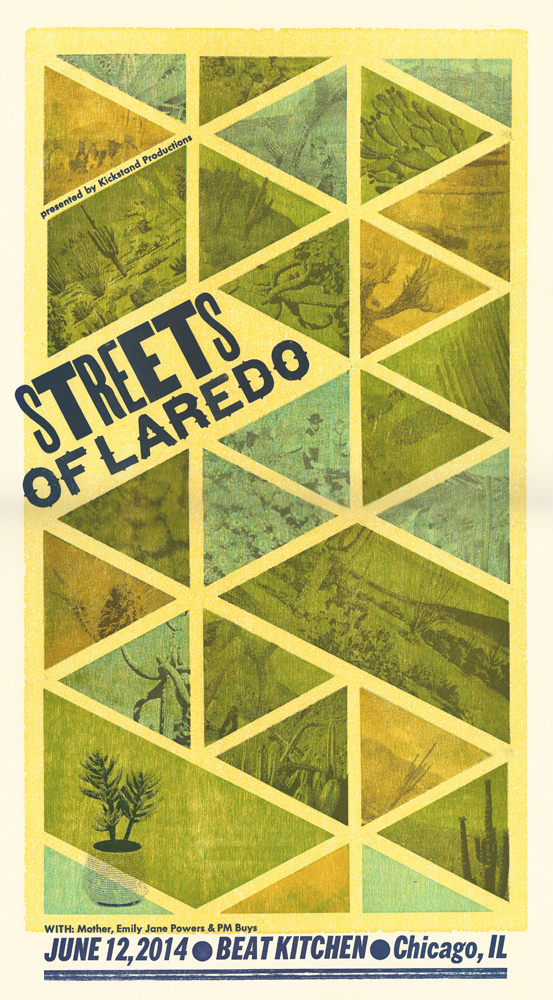 Streets of Laredo, 5-color letterpress show poster, 2014