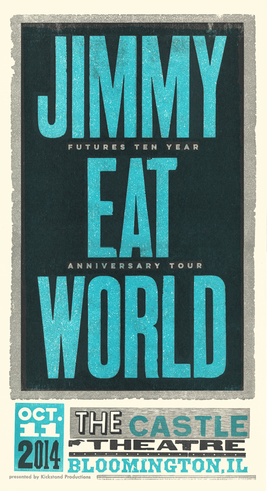 Jimmy Eat World, 3-color letterpress show poster, 2014