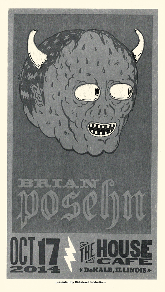 Brian Posehn, 3-color letterpress show poster, collaboration with Cam Baechle