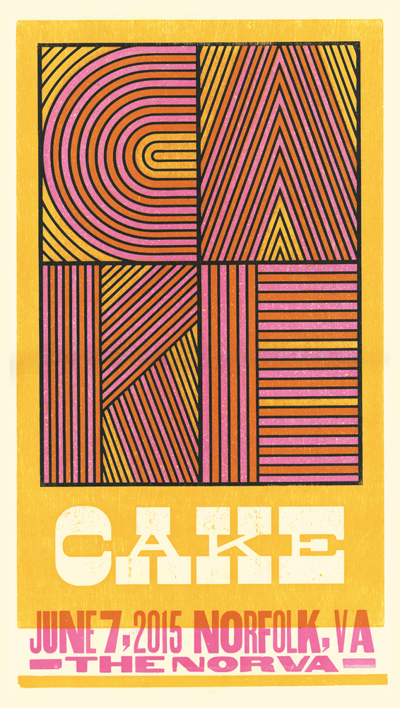 Cake, 3-color letterpress show poster, 2015