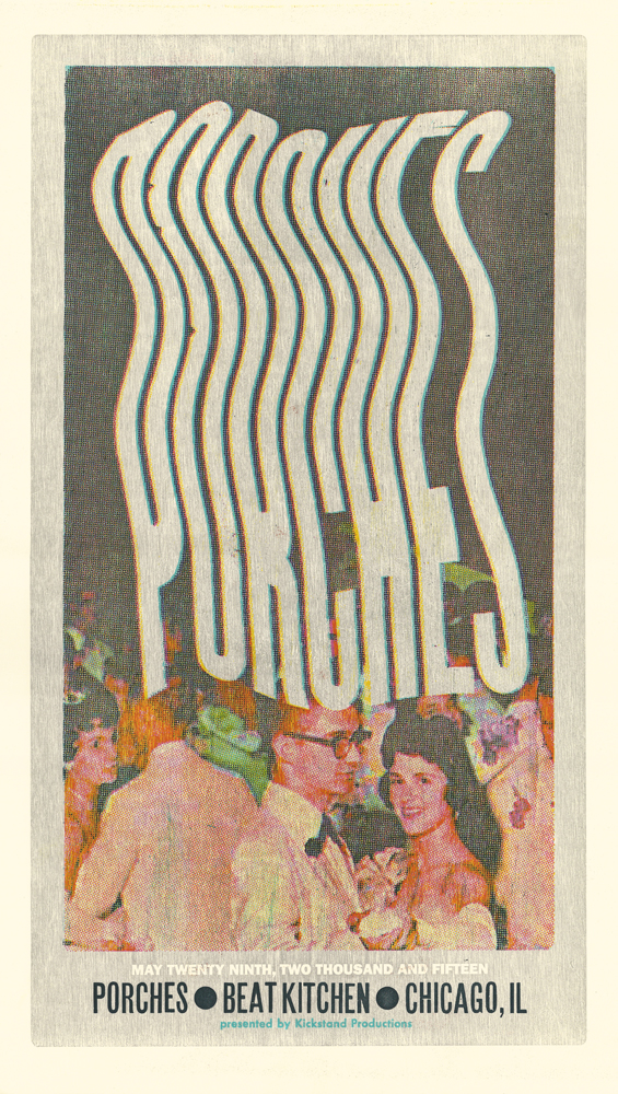 Porches, 5-color letterpress show poster, 2015