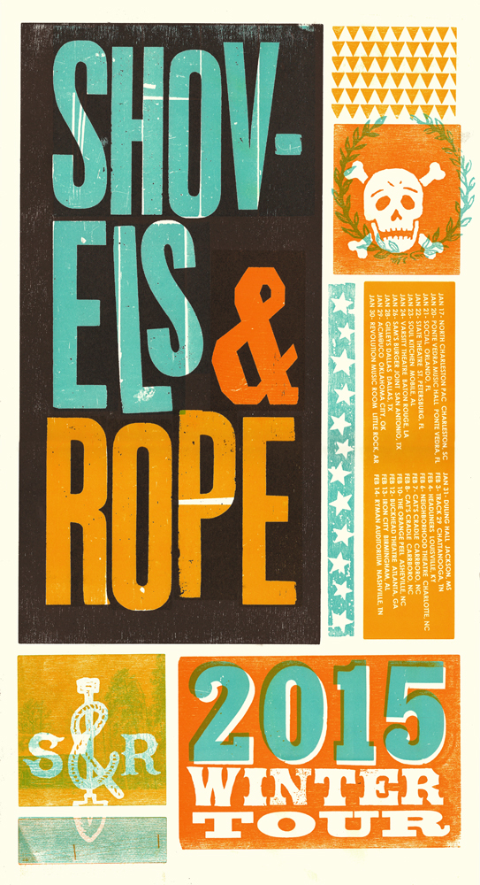 Shovels and Rope Winter Tour, 4-color letterpress, 2015