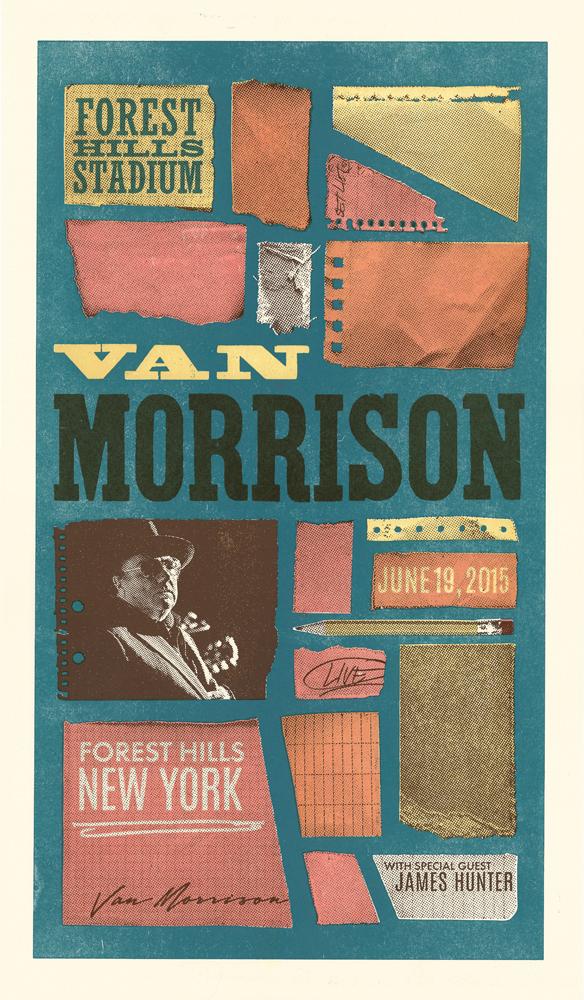 Van Morrison, 4-color letterpress show poster, 2015