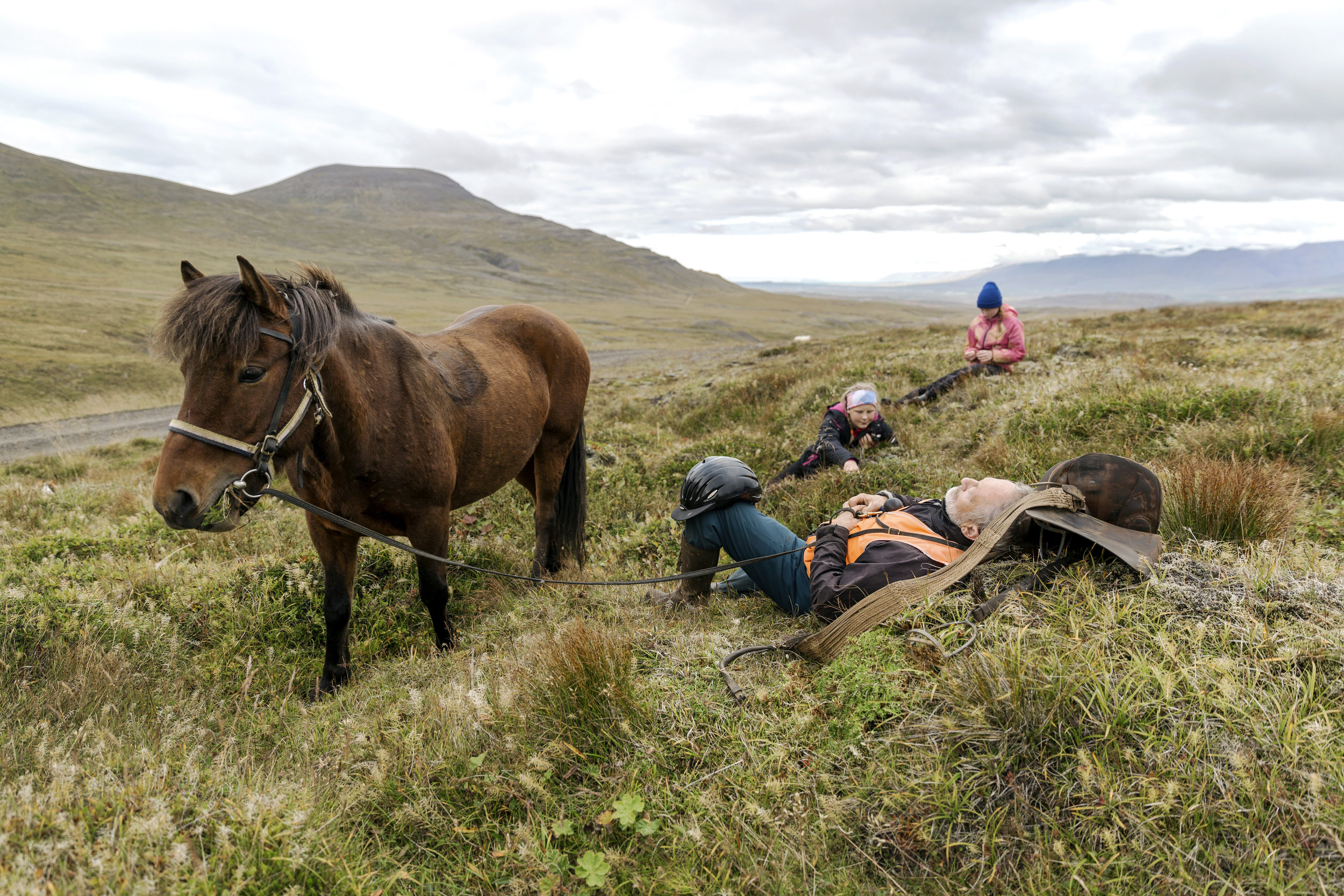 Iceland, Valley of Mælifellsdalur -September 8th 2017:  The round-ups involve many, many hours on horseback in the high country, so those traveling together decide when it's time to take a break. Here, Guðmundur Óskar Guðmundsson of Akureyri, catches a quick nap, while two local children pick berries.