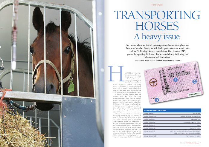 However, for most of us, driving licences that were issued prior to 1997 enable the holder to drive a lorry up to 7500kg (7.5 tonnes) on a standard car  licence. Anyone who has held a UK driving licence for more than 17 years may transport their horses by means of their own trailer or lorry, but the question is – is this cost effective or do shipping agents offer a better alternative?  In Ireland, driving licences must be renewed every ten years (in some circumstances every three years on medical grounds) and therefore all Irish drivers will, within the next ten years, need to update their EU licence to a BE in order to pull a trailer up to 3500kg, or to a C1 category in order to drive a lorry up to 7500kg. A category B licence will only allow you to drive a vehicle up to 3500kg.  Although trainers with fewer runners may find a Jeep and trailer very cost effective, in terms of fuel and safety it could still be more value to use a shipping agent. As one smaller trainer in Ireland pointed out, the £330/€400 he could be charged to ship a horse to the UK was easily exceeded by the cost of taking a Jeep and trailer over on the ferry, without taking into consideration manpower and hours. He was also very aware that from his Jeep he had no way of monitoring the horses being towed behind in the trailer, while a dedicated lorry is fitted with cameras and the horses monitored at all times, offering additional peace of mind on longer journeys. It's worth bearing in mind that taking a trailer or lorry on a ferry between the UK and Ireland or France can cost anywhere from £250/€310 to £500/€620.  For those who feel it's worthwhile investing in a lorry, which can start at £40,000/€48,700 for a brand new two-horse box, there are still pitfalls to steer clear of, particularly when it comes to weight. It is imperative that a reputable coachbuilder is approached, either for new vehicles or refurbishment. While the laws regarding the weight carried by a vehicle are stringent, a coachb