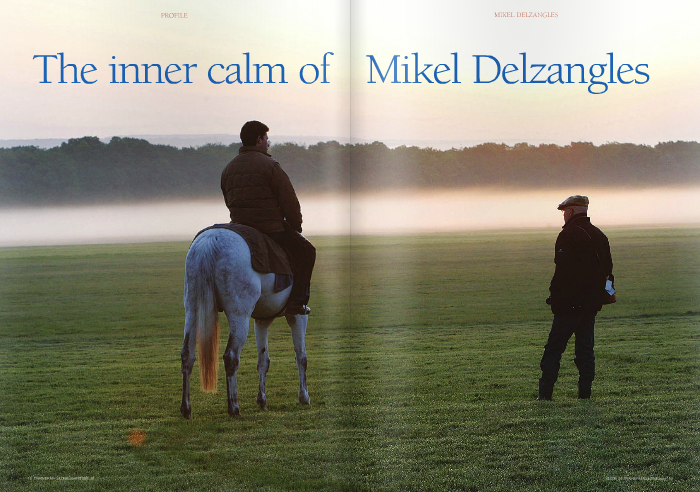 """I'D BE silly to say that I don't get stressed. Of course I do but there's no point making a big fuss about things,"""" he says over breakfast at a friend's home in Newmarket ahead of Hermival's engagement  in that afternoon's 2,000 Guineas. Of course Delzangles had every reason to feel  quietly confident: his record in British Classics up until then read one win from one run following Makfi's 33-1 victory in the 2,000 Guineas of 2010. The result probably left those in the Shadwell operation, which bred the horse and sold him as an unraced back-end two-year-old, wishing they'd never heard of Mikel Delzangles, while the rest of the racing world outside France hastily scribbled his  name in their notebooks as one to follow. But Delzangles' equilibrium ahead of his second Guineas assault is not born of past success, according to his American-born wife Ann, who says: """"He was exactly the same before Makfi ran in the Guineas. That morning he had disappeared upstairs and when I went to see what he was doing I found him asleep. He's so  amazingly calm."""" Along with Hermival, Delzangles took to  Newmarket his diminutive six-year-old horse Dunaden, the €1,500 yearling purchase whom Delzangles inherited on the move of his friend Richard Gibson from France to Hong Kong, and who is now known the world over following back-to-back wins in the Melbourne Cup and Hong Kong Vase. That triumphant spell at the end of last year helped to boost  Dunaden's current career earnings to £3,343,470.  After our interview was concluded, both horses finished third in their respective Newmarket races – Hermival coming home best of those racing on the far rails in a split- field Guineas and Dunaden staying on dourly under a 5lb penalty in the Group 2 Jockey Club Stakes on his first run back from a much deserved spell. It's unlikely, though, that we've heard the last of either of them for this season and the same can be said for their owners.  While Dunaden runs in the increasingly familiar yellow and blu"""