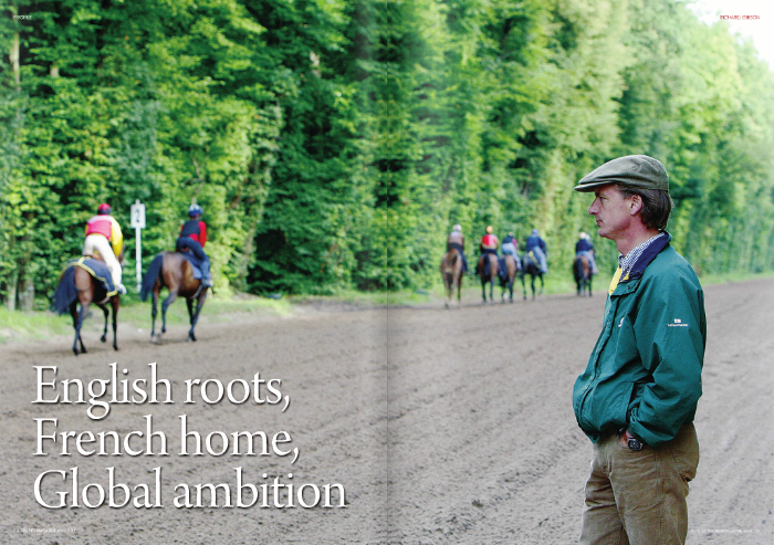 """FAR from his native Northumberland, Richard Gibson decided to set up shop in France. His Chantilly-based operation boasts a strong international flavour, with owners from around the globe and the recently-retired Doctor Dino as world-class flag bearer. Just shy of his 40th birthday, the Englishman looks back at his career, a country he calls home and a racing product he judges to be second to none.     Gibson first experienced the thrills of racing at a young age while following his father, a point-to-point rider, around the north of England. """"I was a six-year-old boy and it was very exciting for me and my three other brothers to go point-to-pointing. It wasadreamtoleadupahorseofmy father's; it was the true definition of amateur     racing. In those days people did it for fun so when my father was riding he would be up against six of his friends. There was great camaraderie.""""     The introduction to what he himself calls 'proper racing' came in 1989 when, as a student, he went to Newmarket for the Guineas. Nashwan was running, """"We were all students with overdrafts and we all backed Nashwan to win... that was my first major experience of the flat!""""     Young Richard had wanted to be a vet but he soon realised he wasn't motivated enough to put in all the study. He started business school but, again, the interest really wasn't there. So in 1991 he set off for France with the sole objective of becoming bilingual.    """"Through an exceptionally vague contact I arrived at the Lad's hostel in Chantilly an   started to work for a small English trainer called Stewart Cargeeg. Then, through another contact, I went to work for [Henri-] Alex Pantall as a pupil assistant. I knew I had little experience and I said to him, """"If, after a month, you think I'm useless, not a problem, you can send me to the nearest train station.""""     He stayed for four years, experiencing life in the provinces and their racing circuits. Since Pantall trained for both Khalid Abdullah and Sheikh Mohammed,"""