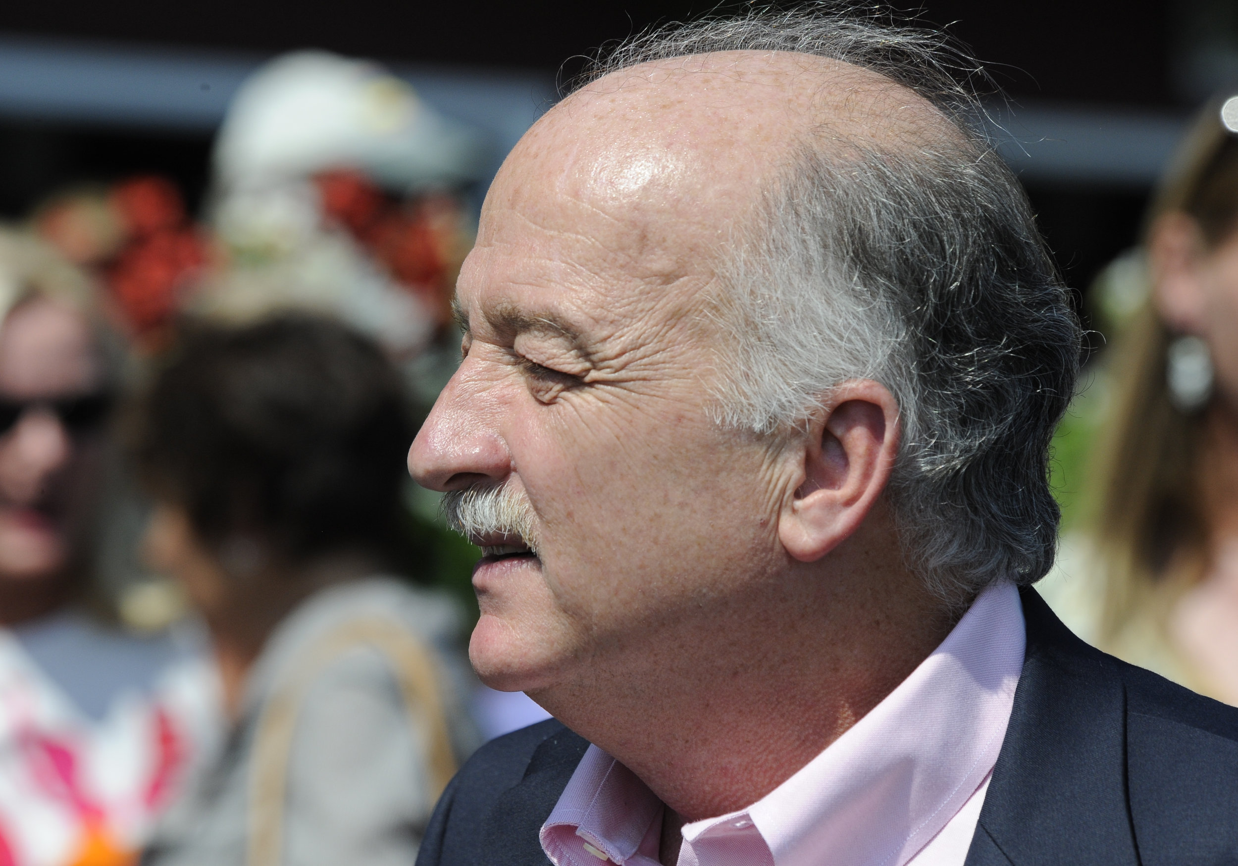09 August 15: Trainer Mike Hushion at Saratoga Race Track in Saratoga Springs, New York.