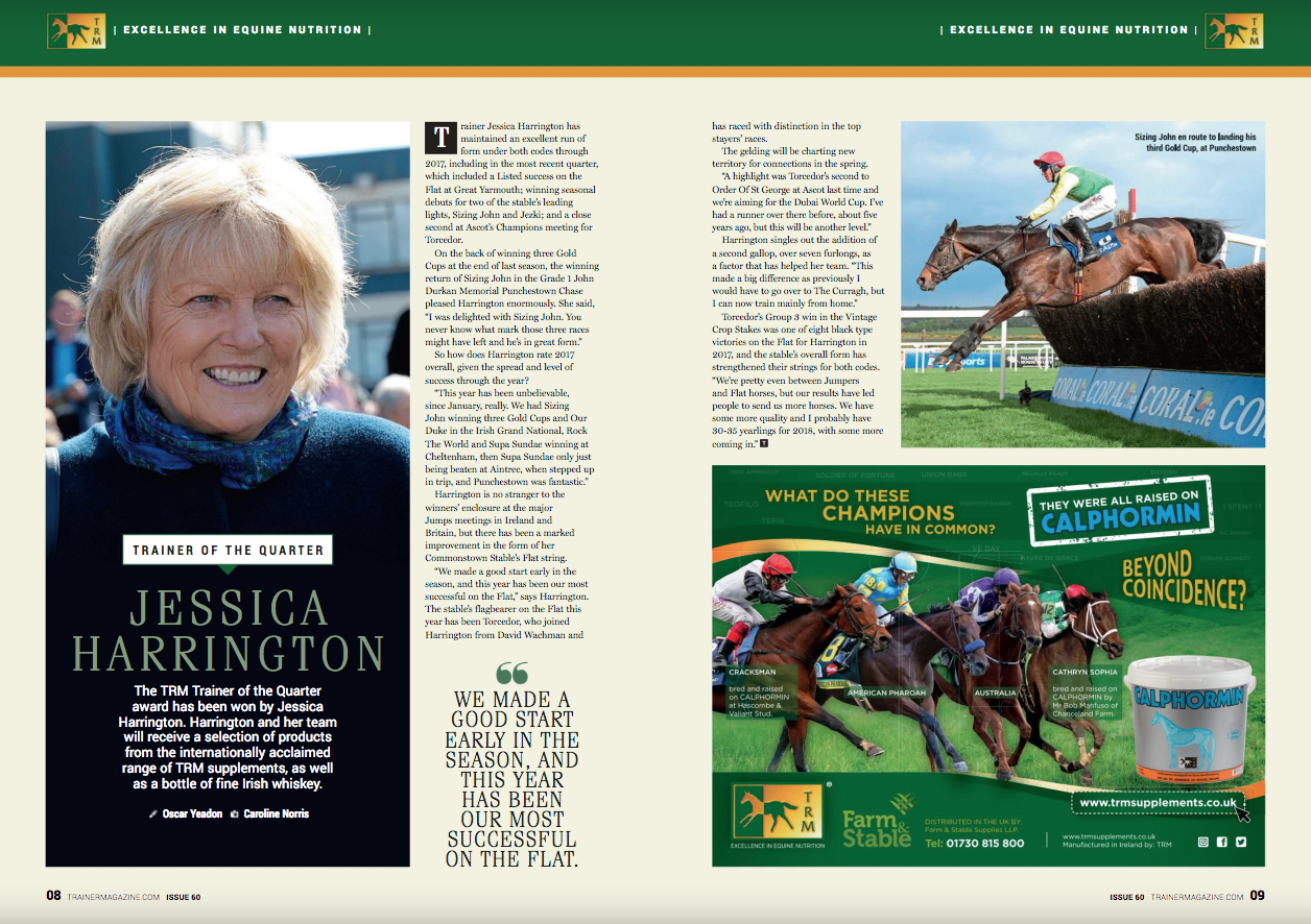 """Trainer Jessica Harrington has maintained an excellent run of form under both codes through 2017, including in the most recent quarter, which included a Listed success on the Flat at Great Yarmouth; winning seasonal debuts for two of the stable's leading lights, Sizing John and Jezki; and a close second at Ascot's Champions meeting for Torcedor.     On the back of winning three Gold Cups at the end of last season, the winning return of Sizing John in the Grade 1 John Durkan Memorial Punchestown Chase pleased Harrington enormously. She said, """"I was delighted with Sizing John. You never know what mark those three races might have left and he's in great form.""""     So how does Harrington rate 2017 overall, given the spread and level of success through the year?    """"This year has been unbelievable, since January, really. We had Sizing John winning three Gold Cups and Our Duke in the Irish Grand National, Rock The World and Supa Sundae winning at Cheltenham, then Supa Sundae only just being beaten at Aintree, when stepped up in trip, and Punchestown was fantastic.""""     Harrington is no stranger to the winners' enclosure at the major Jumps meetings in Ireland and Britain, but there has been a marked improvement in the form of the Commonstown Stable's Flat string.     """"We made a good start early in the Flat season, and this year has been our most successful on the Flat,"""" says Harrington. The stable's flagbearer on the Flat this year has been Torcedor, who joined Harrington from David Wachman ahead of the season and raced with distinction in the top stayers' races.    The gelding will be charting new territory for connections in the spring.     """"A highlight was Torcedor's second to Order Of St George at Ascot last time and we're aiming for the Dubai World Cup. I've had a runner over there before, about five years ago, but this will be another level.""""    Harrington singles out the addition of a second gallop, over seven furlongs, as a factor that has helped her team. """"This ma"""