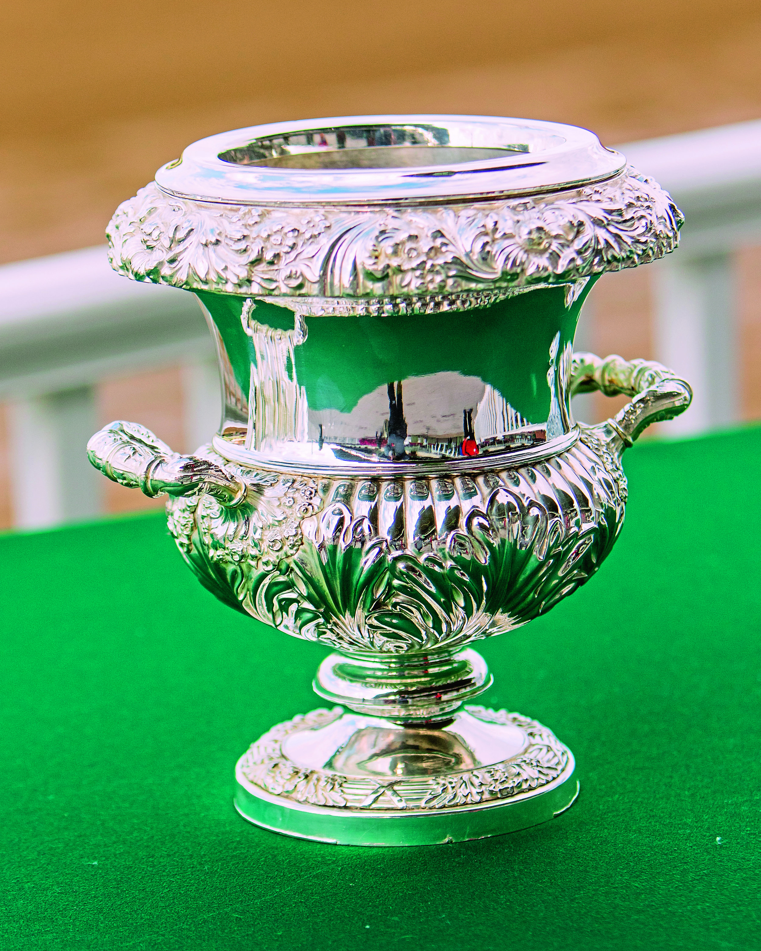 """ELMONT, NEW YORK - SEPT 30:  Trophy for the  Joe Hirsch Turf Classic Invitational, a """"Win & You're In' event, at Belmont Park on September 30, 2017 in Elmont, New York. ( Photo by Sue Kawczynski/Eclipse Sportswire/Getty Images)"""