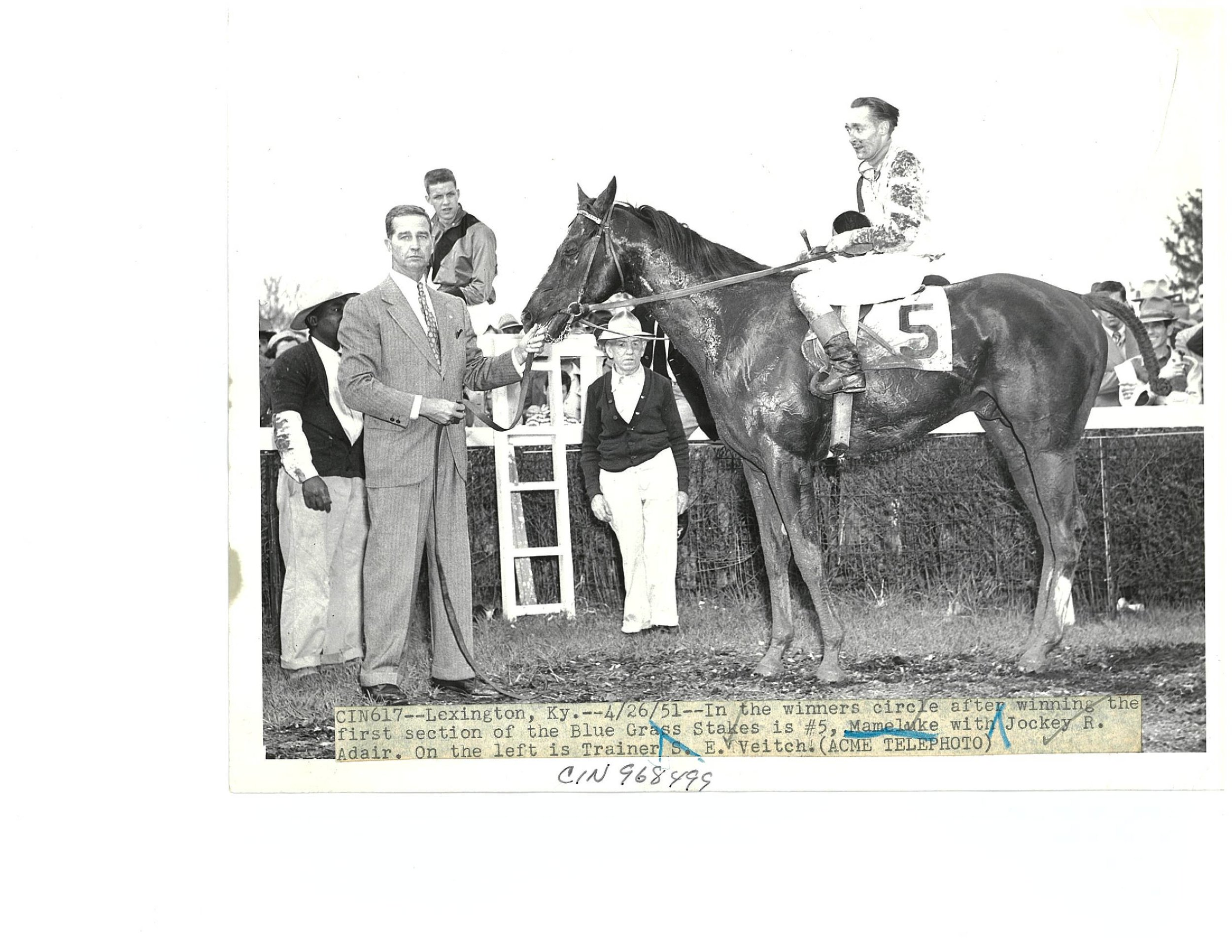 Ray Adair after winning the Blue Grass Stakes at Keeneland on Mameluke