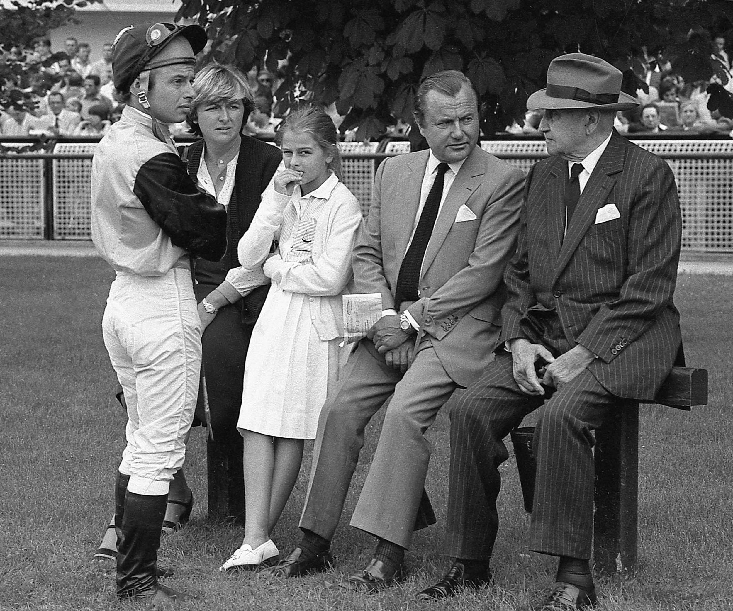 Alec Head (second right) with father, William (right), grand-daughter Patricia, Criquette and Freddy (in the family colours), 1982.