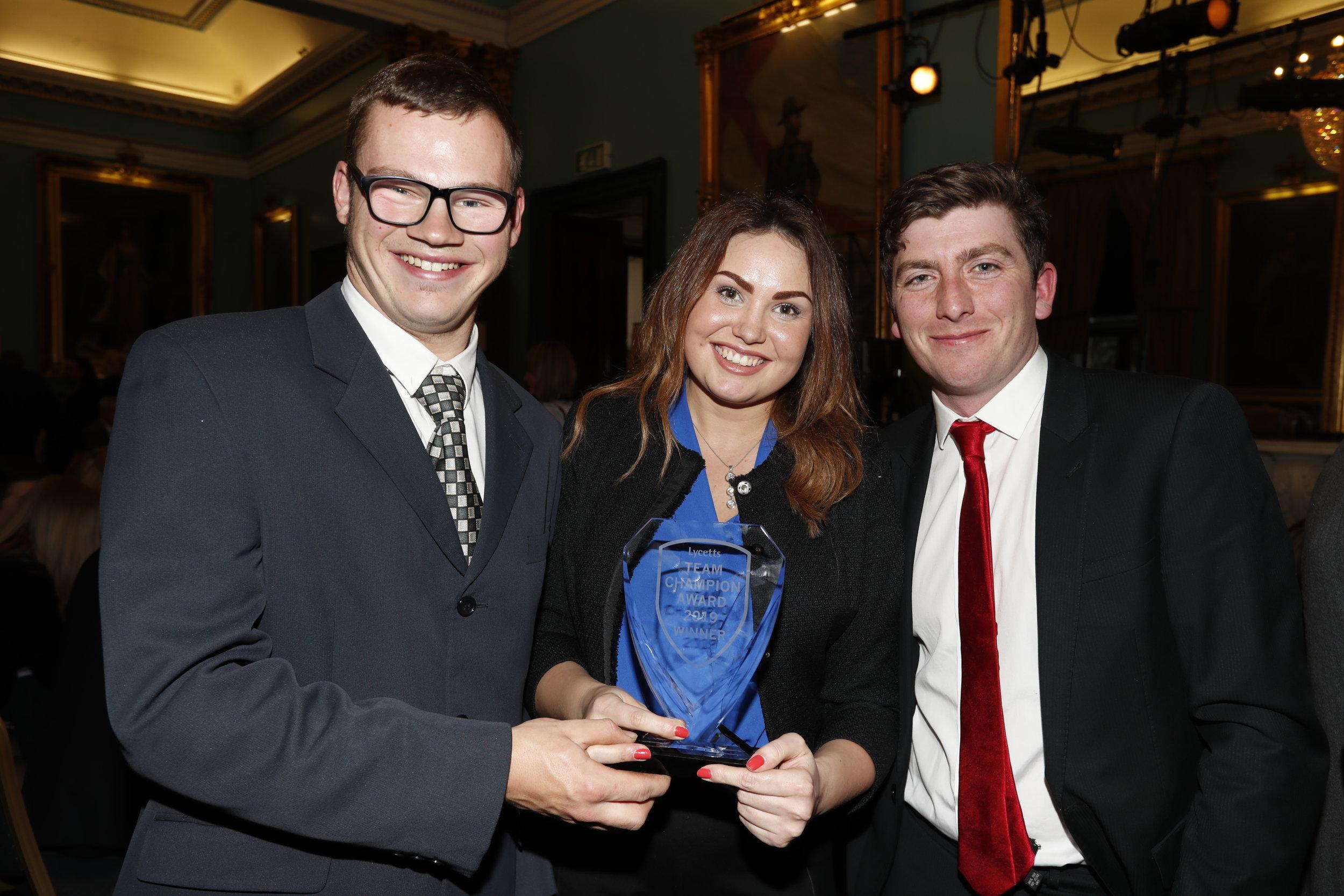 Henry Owen (left), Jennie Sherrard and Josh Bennett (right).