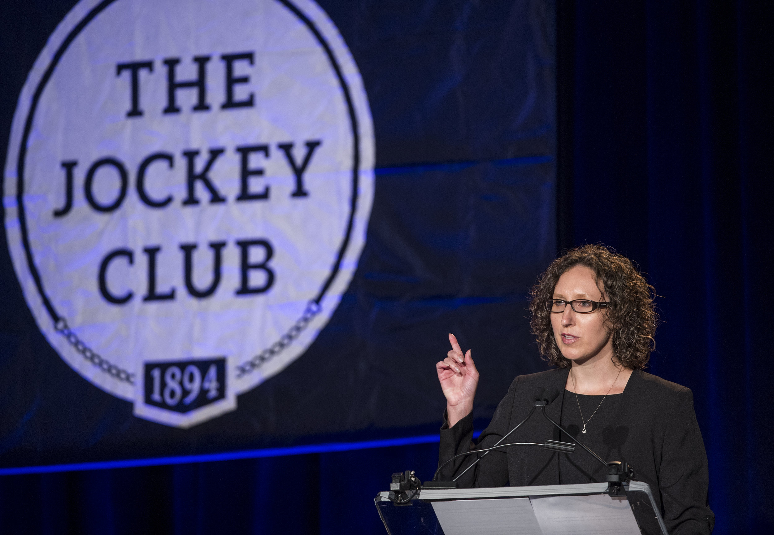 Cathy O'Meara speaks at the Jockey Club Roundtable 2017 at the Gideon Putnam Hotel August 13, 2017 in Saratoga Springs, N.Y.