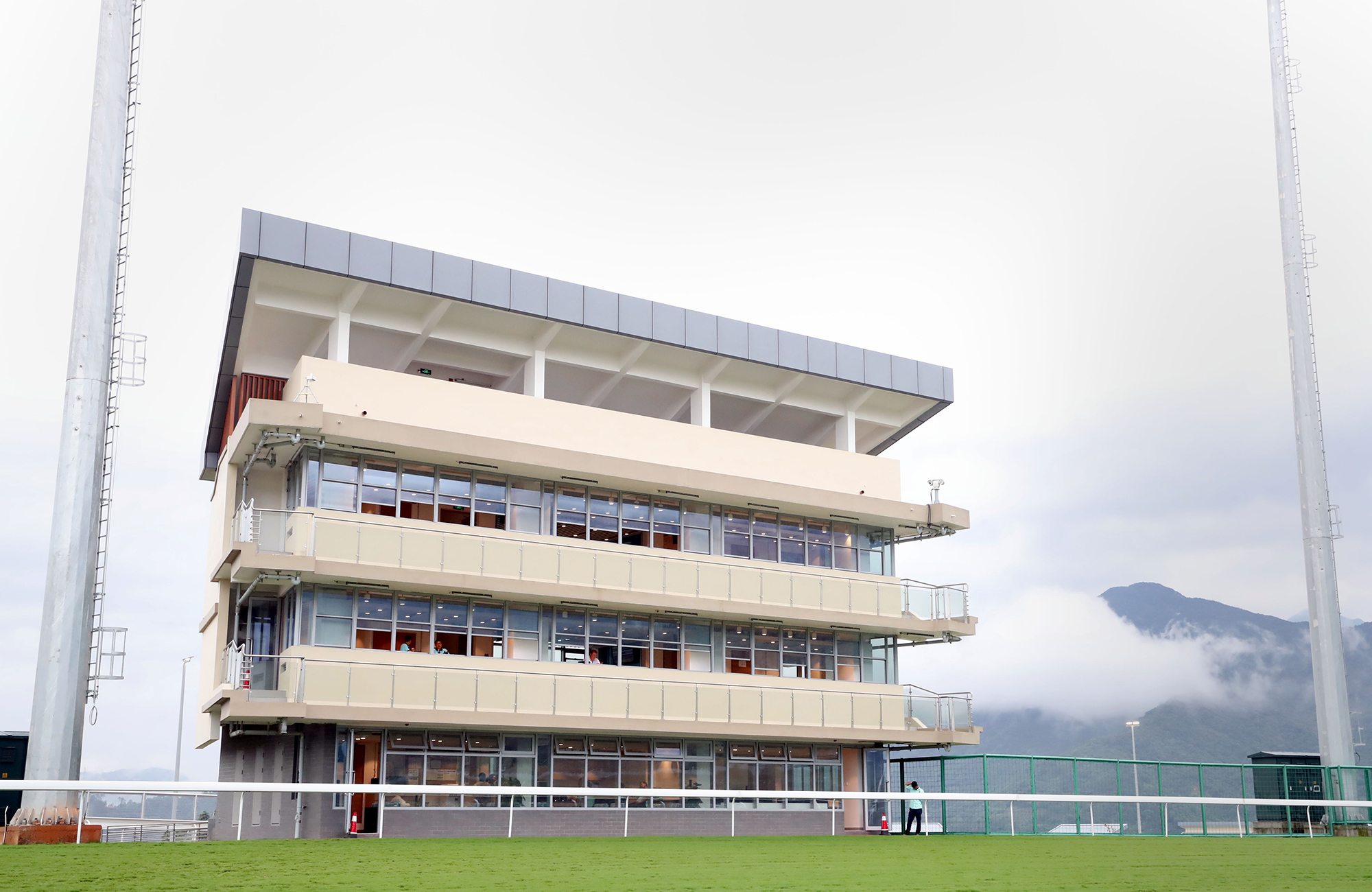 The trainers pavilion has an unobstructed view of the racecourse.