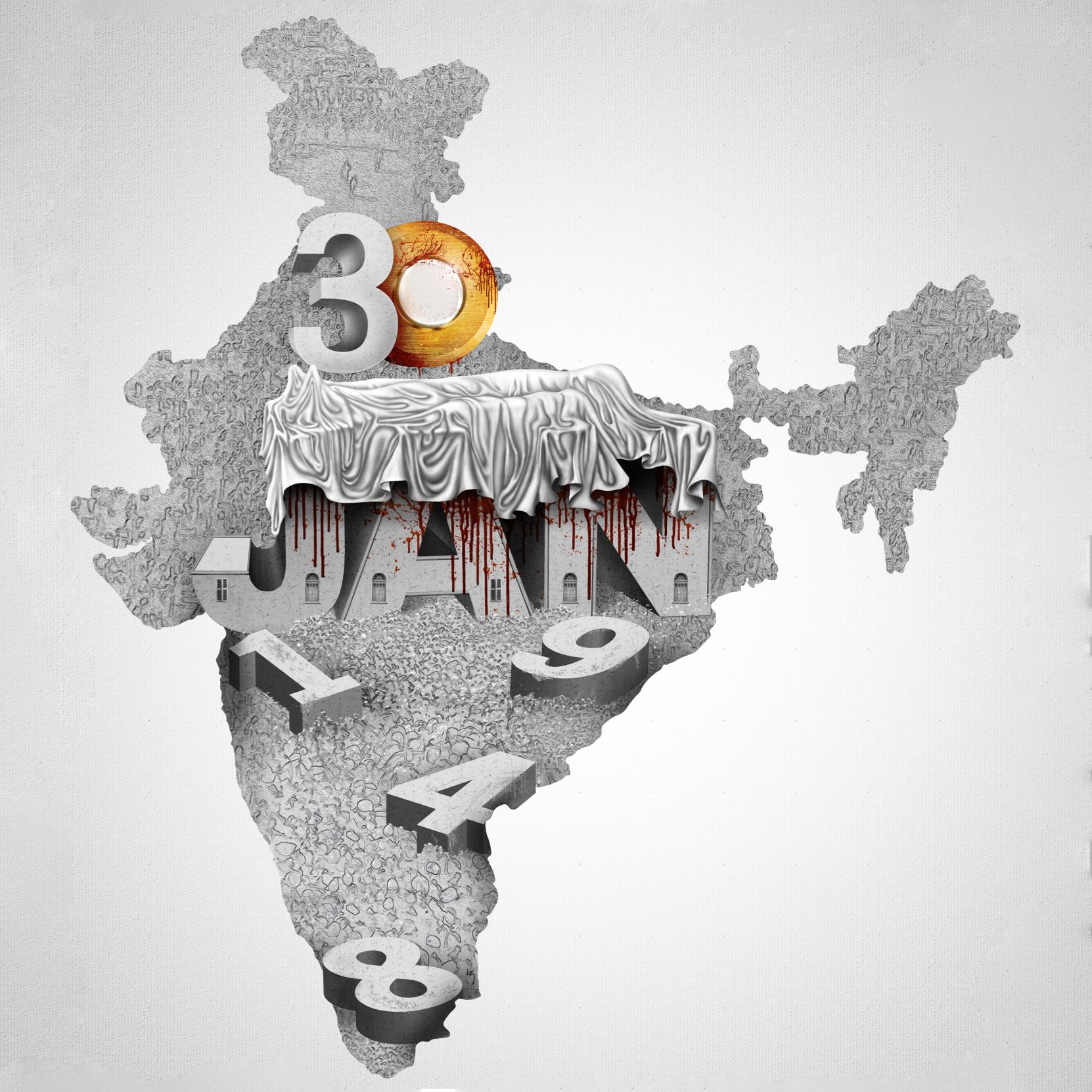 """The darkest day in Indian history. - Mahatma Gandhi assassinated by Nathuram Godse."" Mohammad Azad"