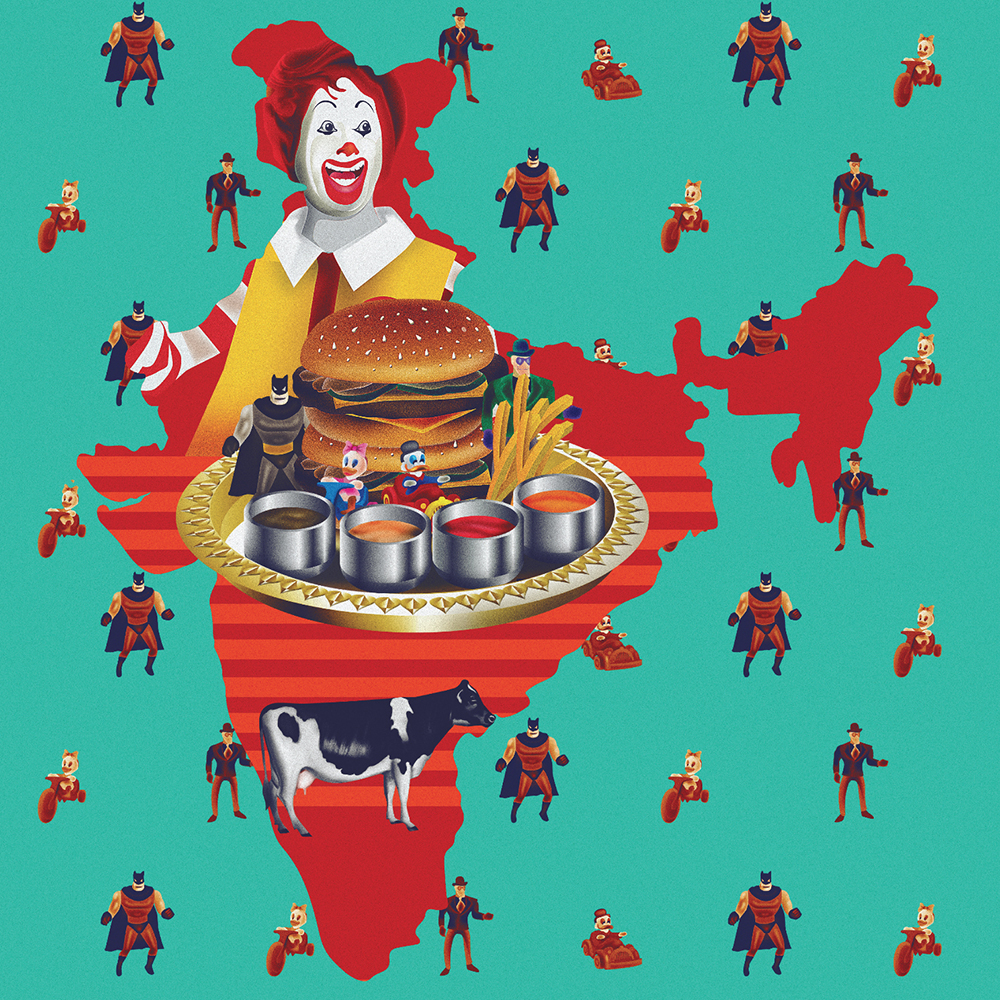 """""""The clown opens up a joint.In 1996, McDonald's opened it's shop in India. The signature Big Mac beef burger was replaced on the menu by the Chicken Maharajah Mac to suit the indian market. The price, taste and value that McDonalds introduced became a hit."""" ~  Reshidev Rk"""