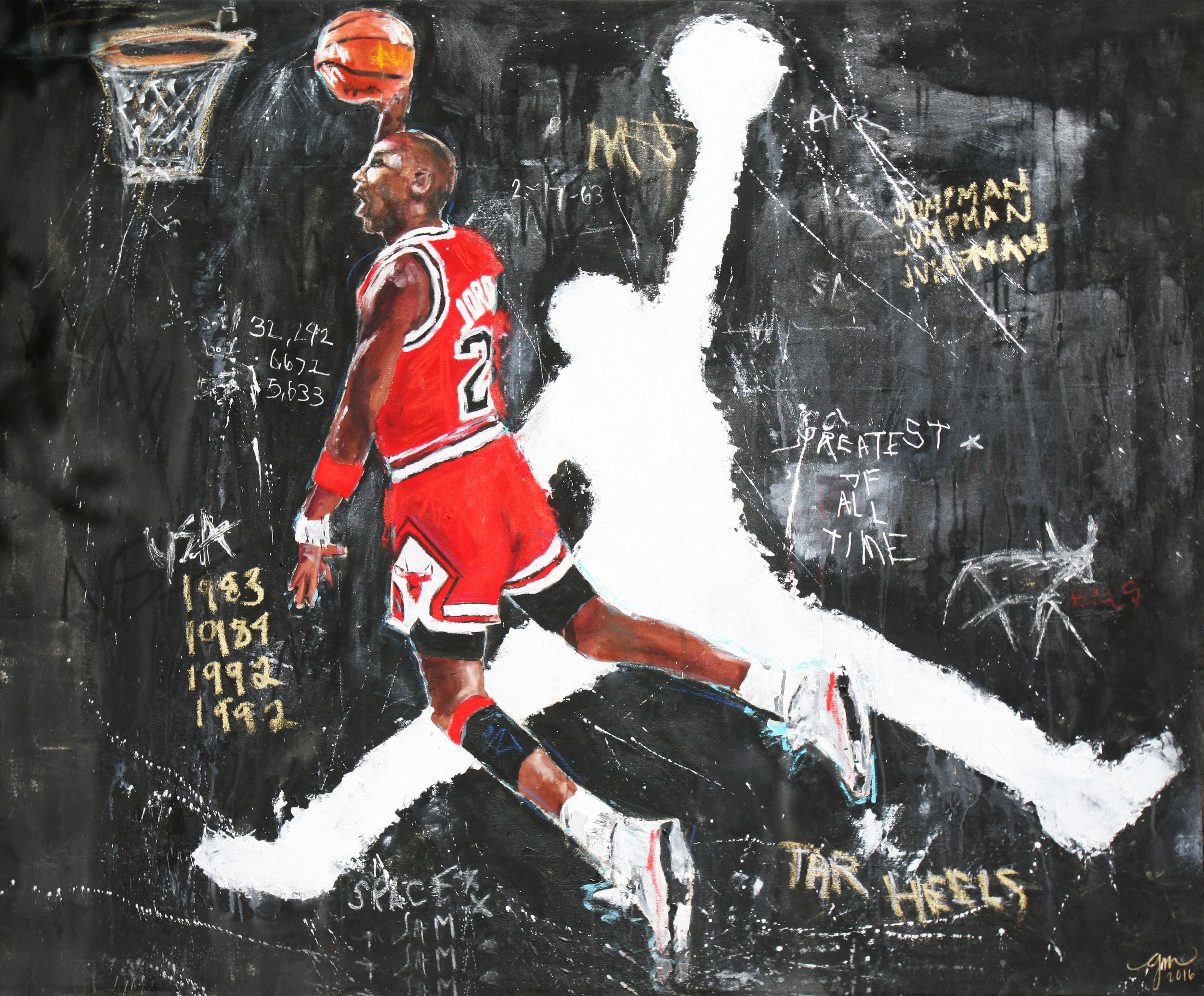 HIS AIRNESS , 2016 (GREATEST OF ALL TIME series)  48 x 60 inches  MIXED MEDIA – OIL/ACRYLIC ON STRETCHED LINEN CANVAS  *pricing available upon request