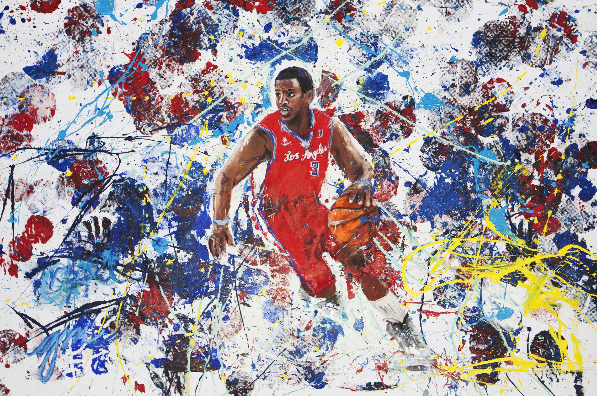 HOOPS, 2016 (A CHRIS PAUL x GENA MILANESI COLLABORATION)   60 X 86 INCHES  ACRYLIC ON STRETCHED LINEN CANVAS   *pricing available upon request - portion of sales will go to  THE CHRIS PAUL FAMILY FOUNDATION       CLICK HERE TO SEE THE BEHIND THE SCENES VIDEO