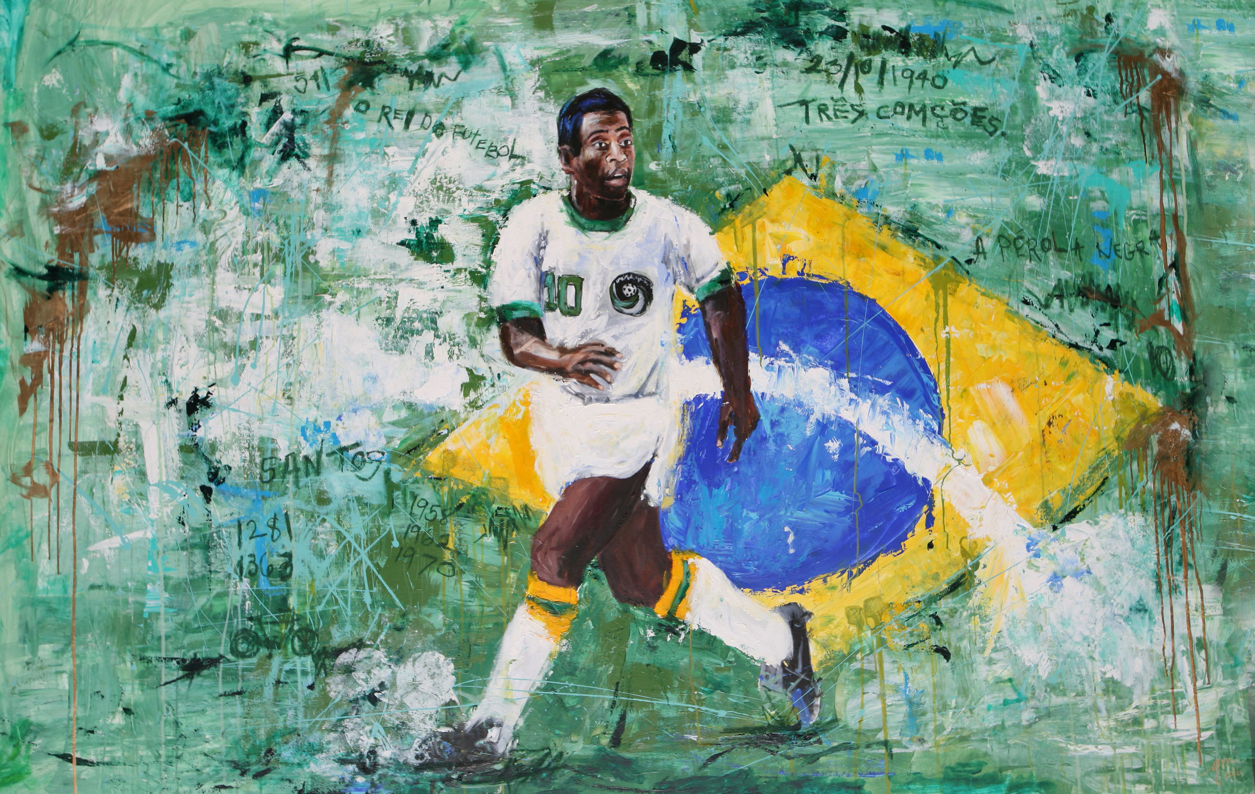 PELÉ THE GREAT , 2016 (GREATEST OF ALL TIME series)  57 X 87 INCHES   MIXED MEDIA – OIL/ACRYLIC ON STRETCHED LINEN CANVAS  *pricing available upon request