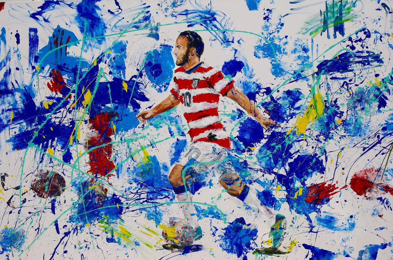 GOALS, 2016 (A LANDON DONOVAN X GENA MILANESI COLLABORATION)   54 X 82 INCHES   ACRYLIC ON STRETCHED CANVAS   *pricing available upon request     CLICK HERE TO SEE BEHIND THE SCENES