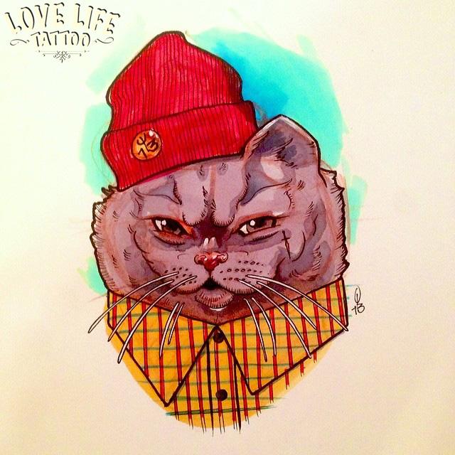 эскиз татуировки кота в шапке